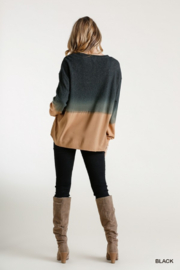 umgee  Ombre Crew with Linen Trim - Front full body
