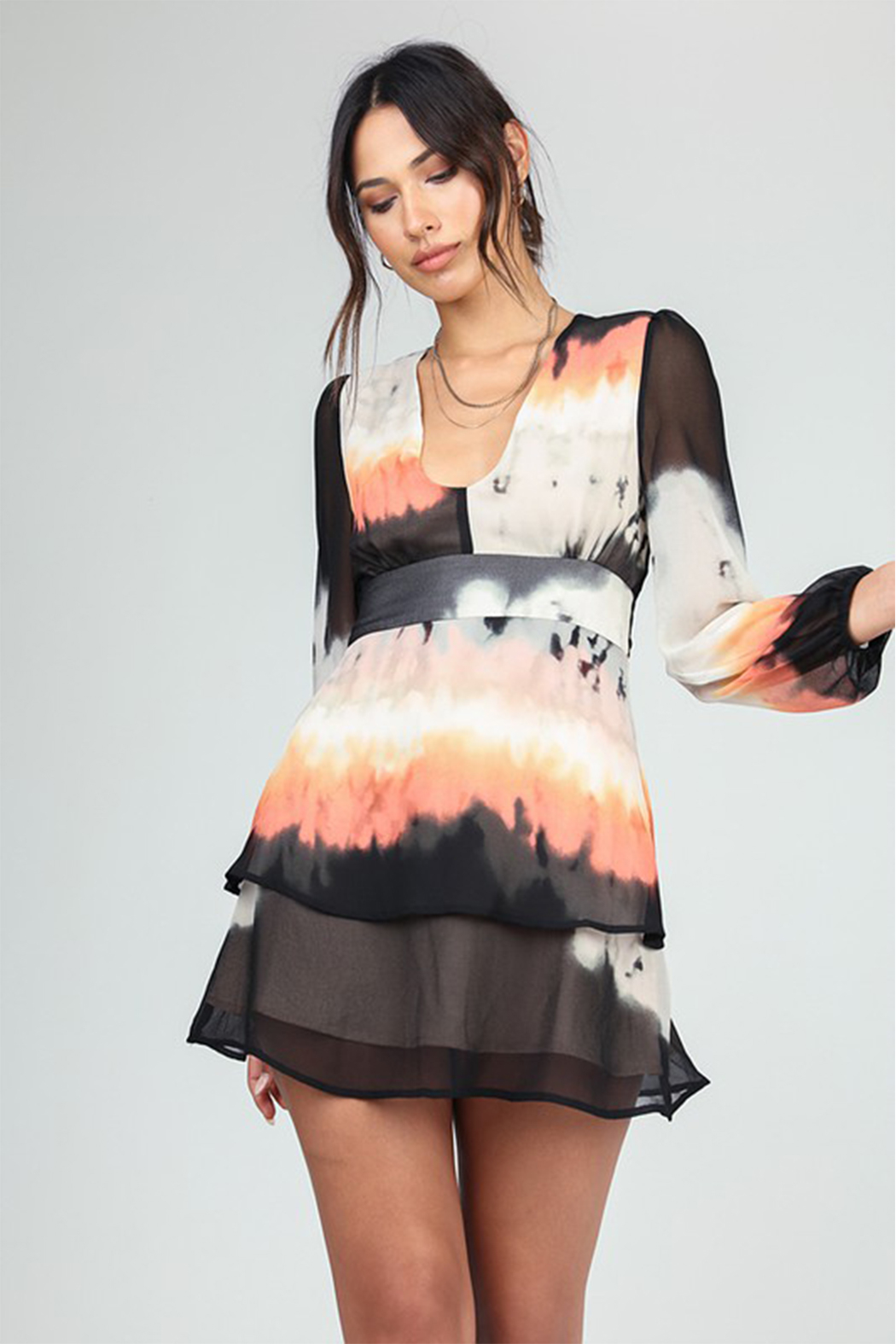 Honey Punch Ombre Double layer Dress - Front Full Image