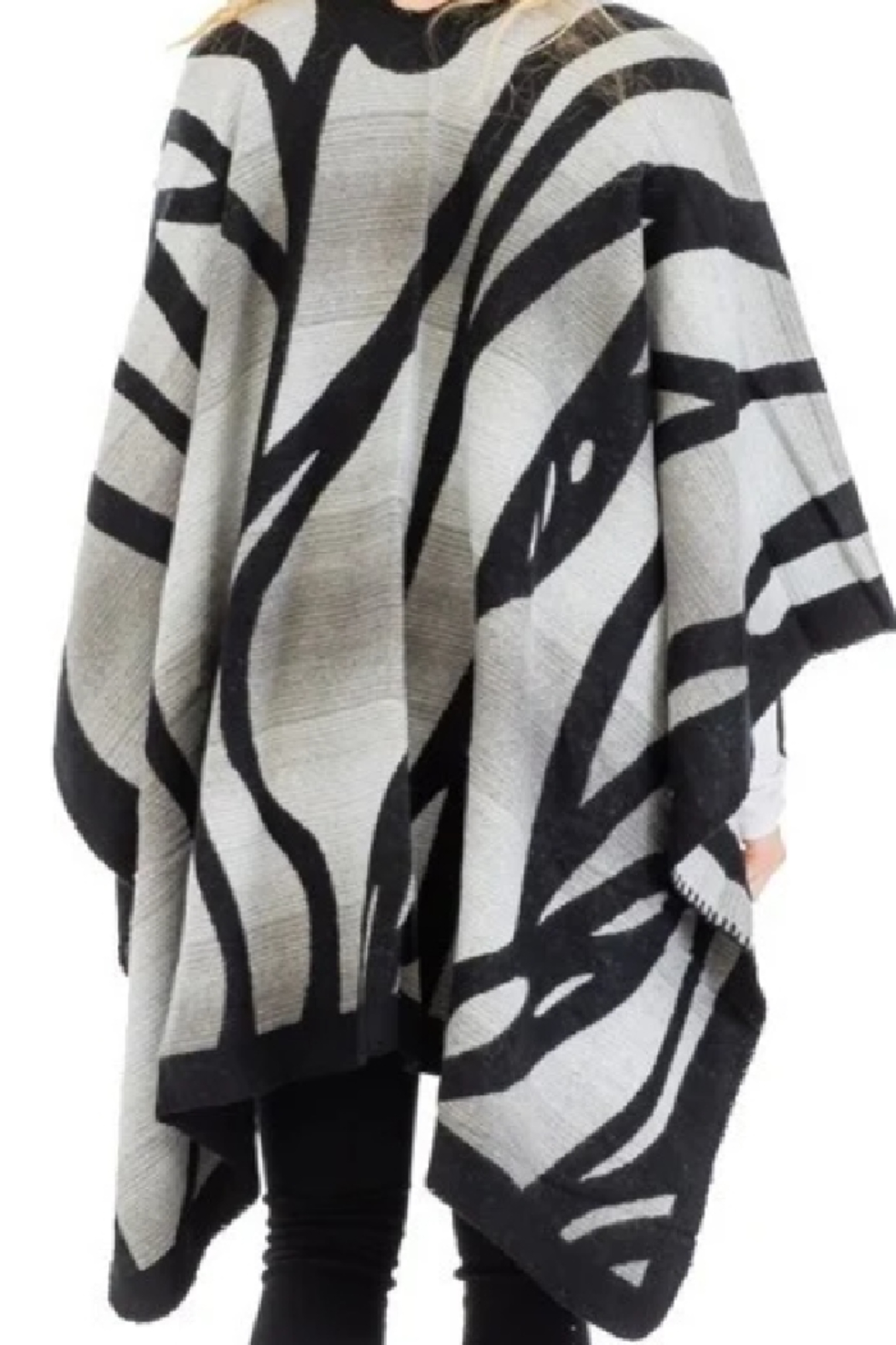 Cap Zone Gray Ombre Dyed Tiger Stripe Ruana Poncho - Front Full Image