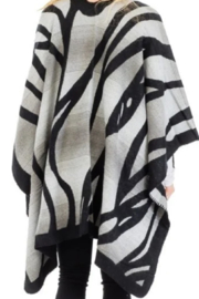 Cap Zone Gray Ombre Dyed Tiger Stripe Ruana Poncho - Front full body