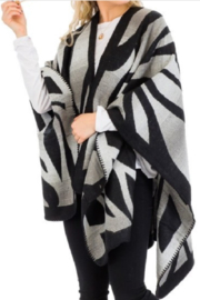 Cap Zone Gray Ombre Dyed Tiger Stripe Ruana Poncho - Product Mini Image