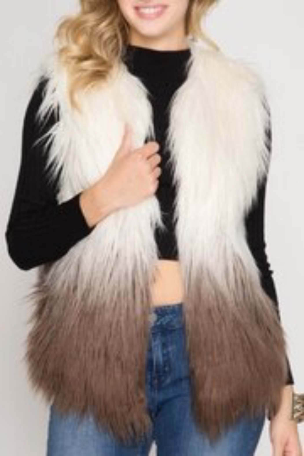 She and Sky Ombre Faux Fur Vest o/s - Main Image