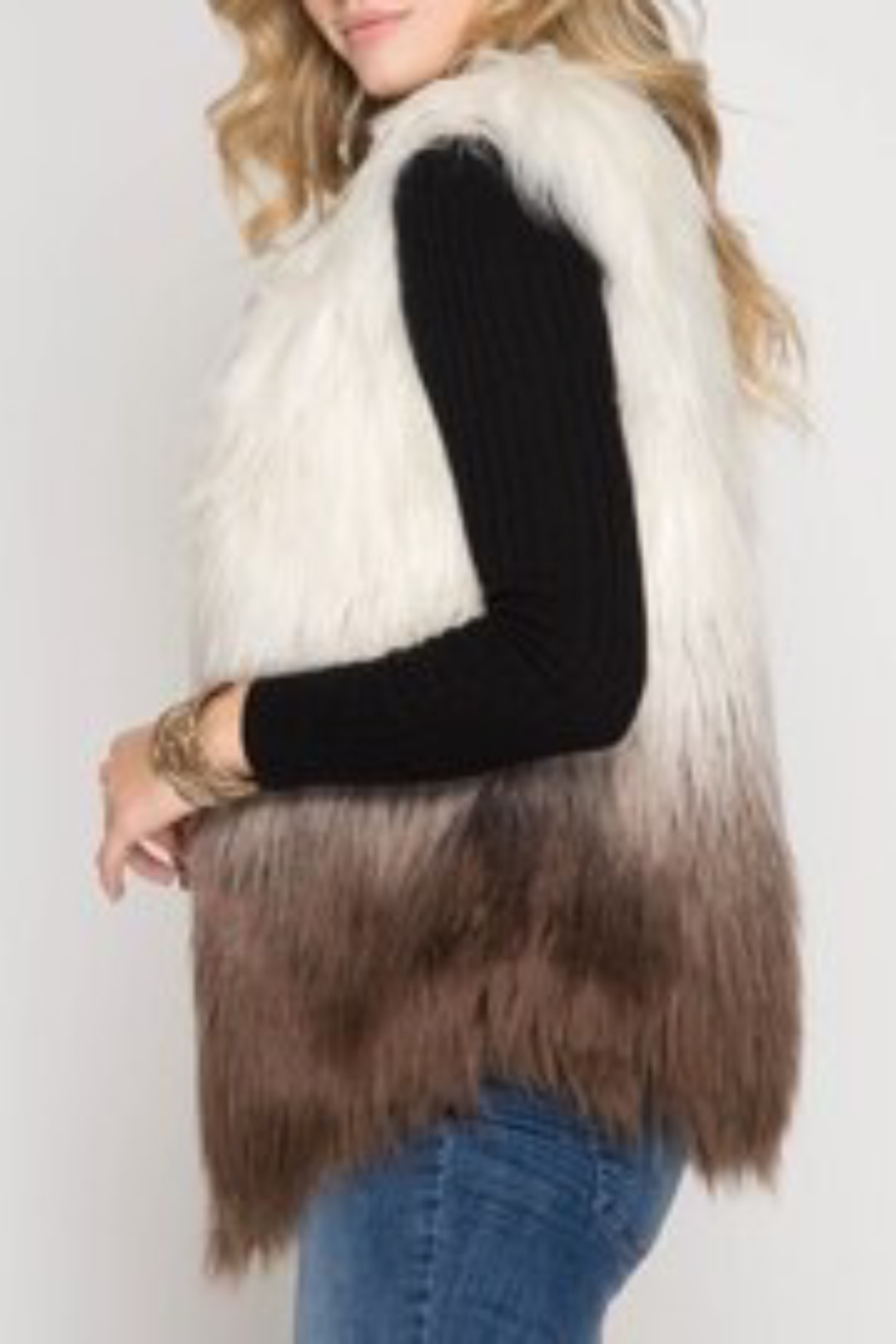 She and Sky Ombre Faux Fur Vest o/s - Front Full Image