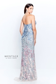 Montage Ombre Floral Embroidered Gown, Blue/Pink/Multi - Product Mini Image