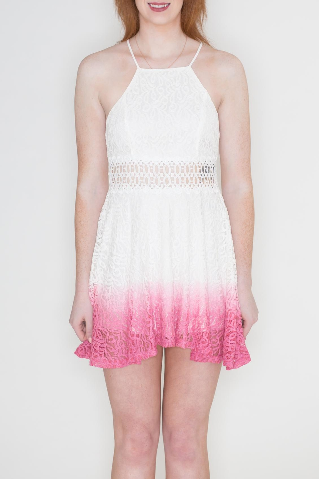Listicle Ombre Lace Dress - Front Full Image