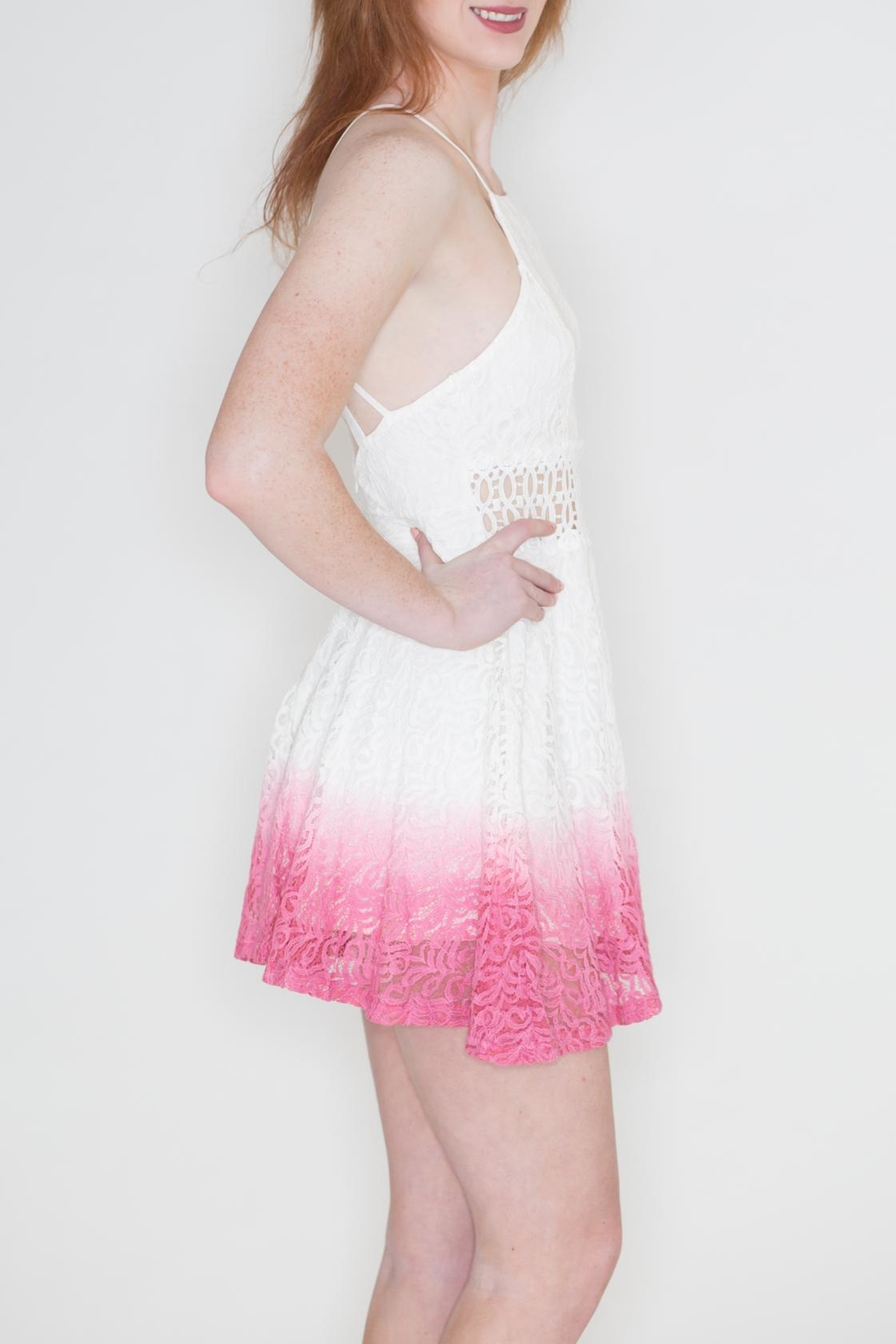 Listicle Ombre Lace Dress - Side Cropped Image
