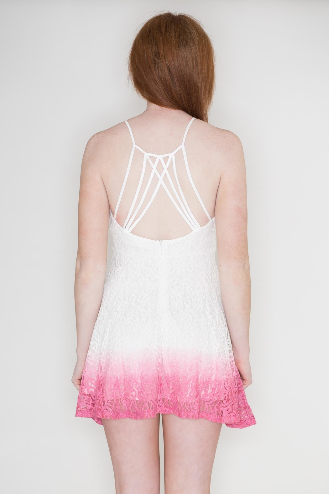 Listicle Ombre Lace Dress - Back Cropped Image