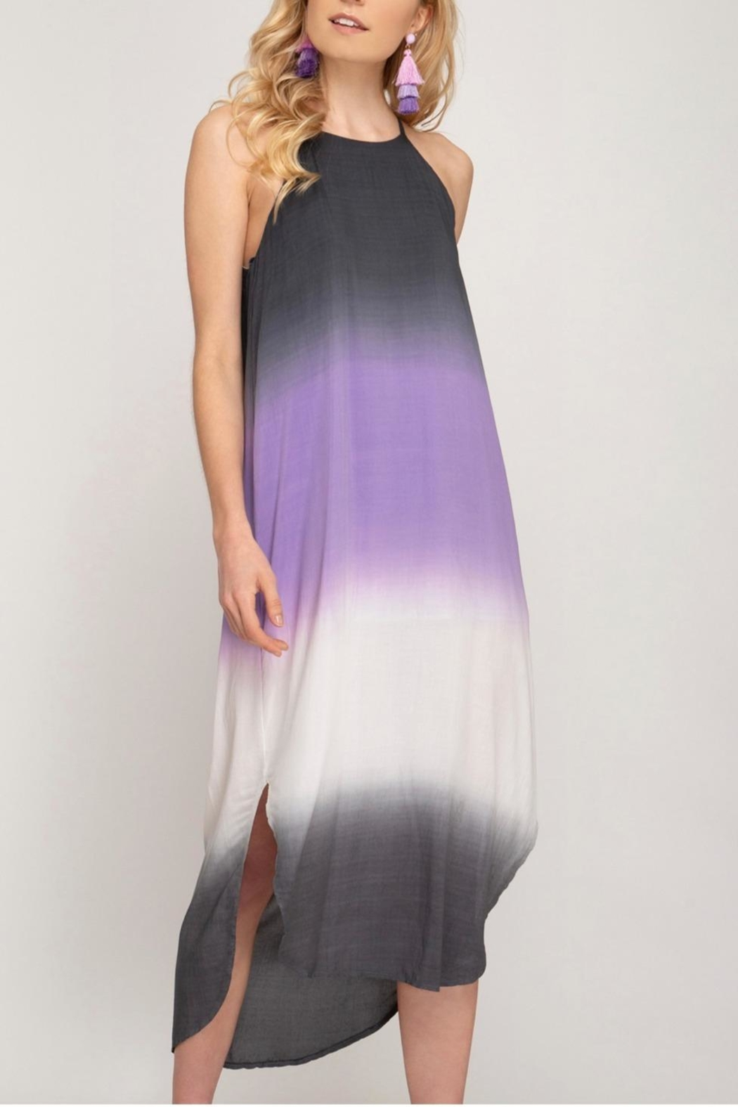 She + Sky Ombre Midi Dress - Front Cropped Image