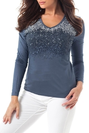 Angel Apparel Ombre-Sparkle V-Neck Top - Product Mini Image