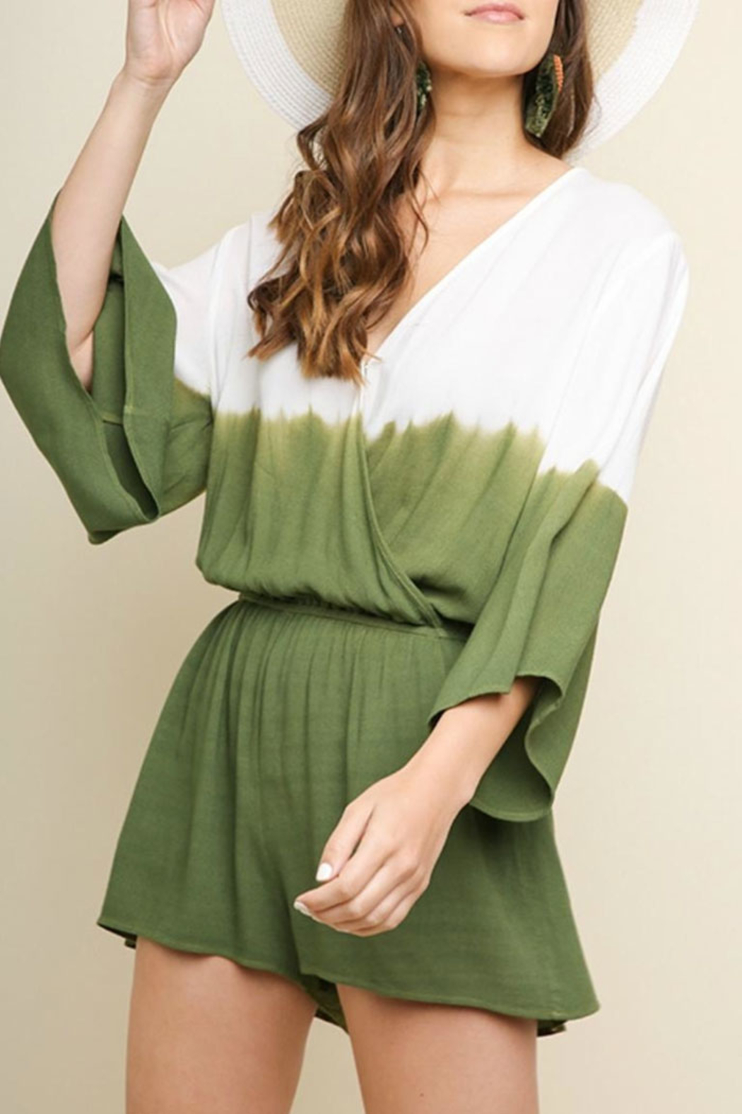 Umgee USA Ombre Tiedye Romper - Front Cropped Image