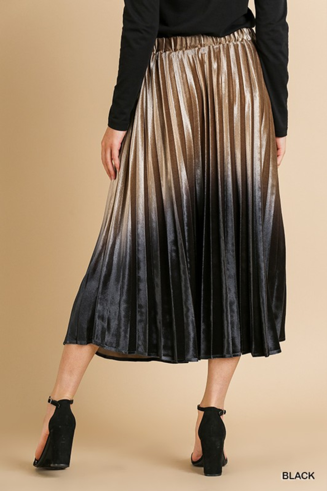 Style U  Ombre Velvet Pleated Midi Skirt - Side Cropped Image
