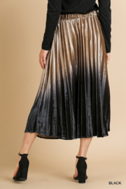 Style U  Ombre Velvet Pleated Midi Skirt - Side cropped