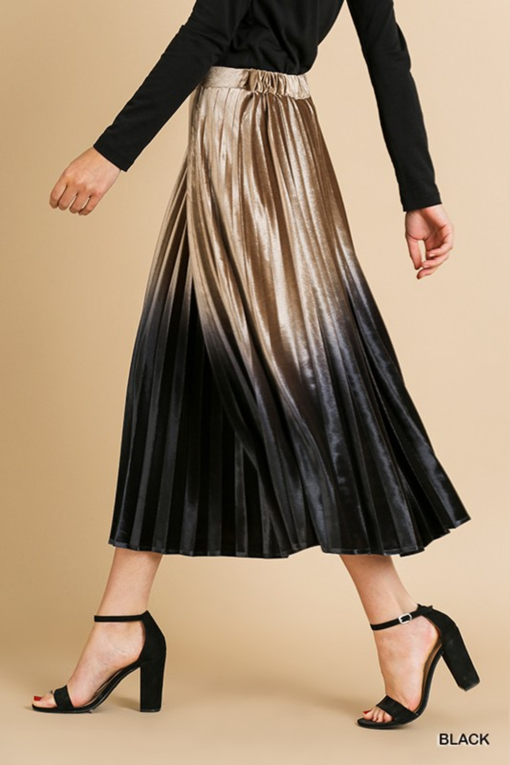 Style U  Ombre Velvet Pleated Midi Skirt - Front Full Image
