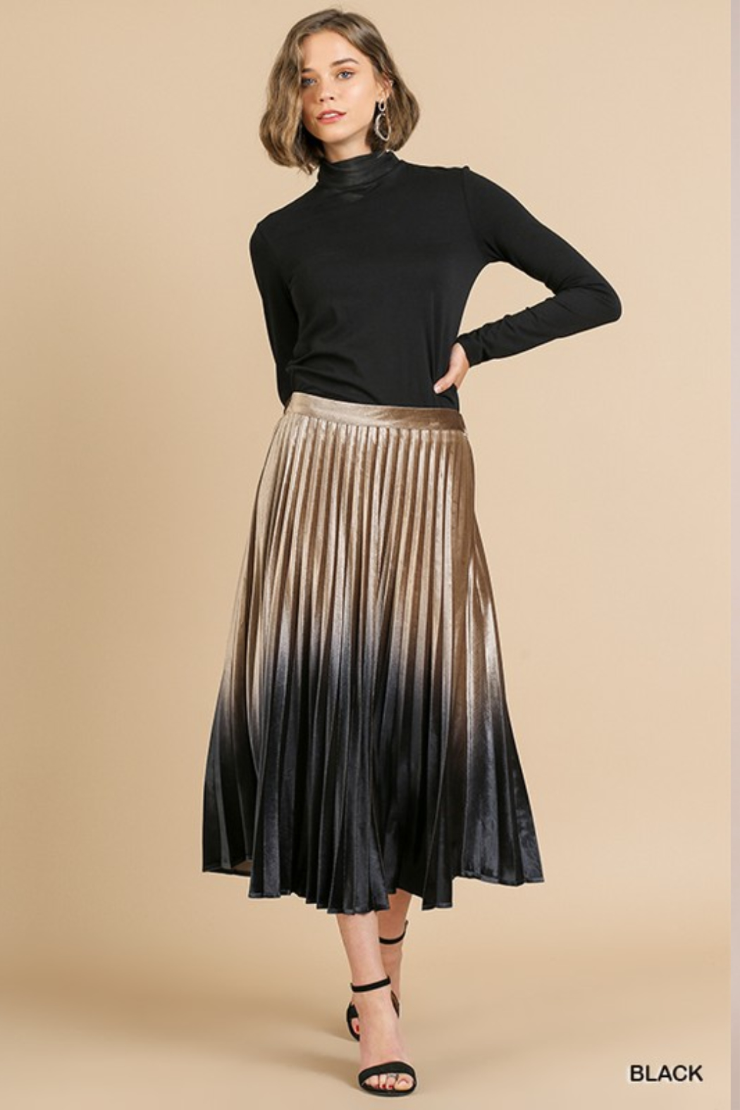 Style U  Ombre Velvet Pleated Midi Skirt - Back Cropped Image