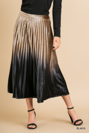 Style U  Ombre Velvet Pleated Midi Skirt - Front cropped