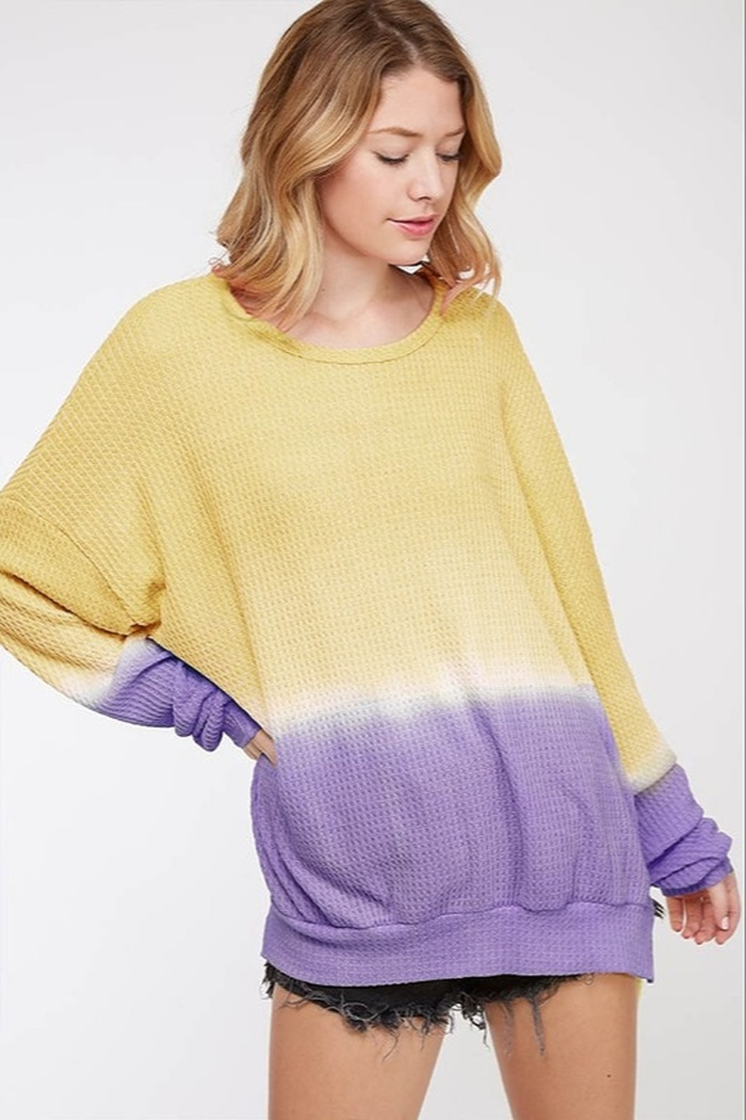 Fantastic Fawn Ombre Waffle Sweatshirt - Front Cropped Image