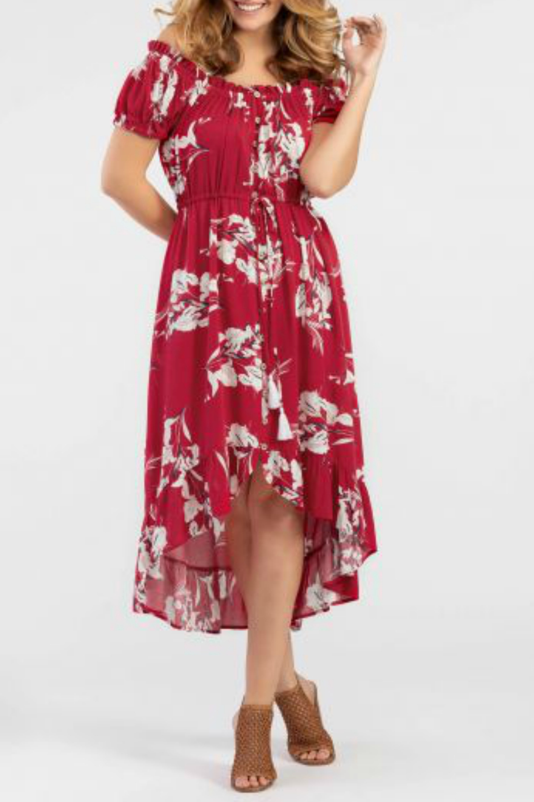 Tribal ON-AND-OFF-SHOULDER FLORAL DRESS - Front Cropped Image