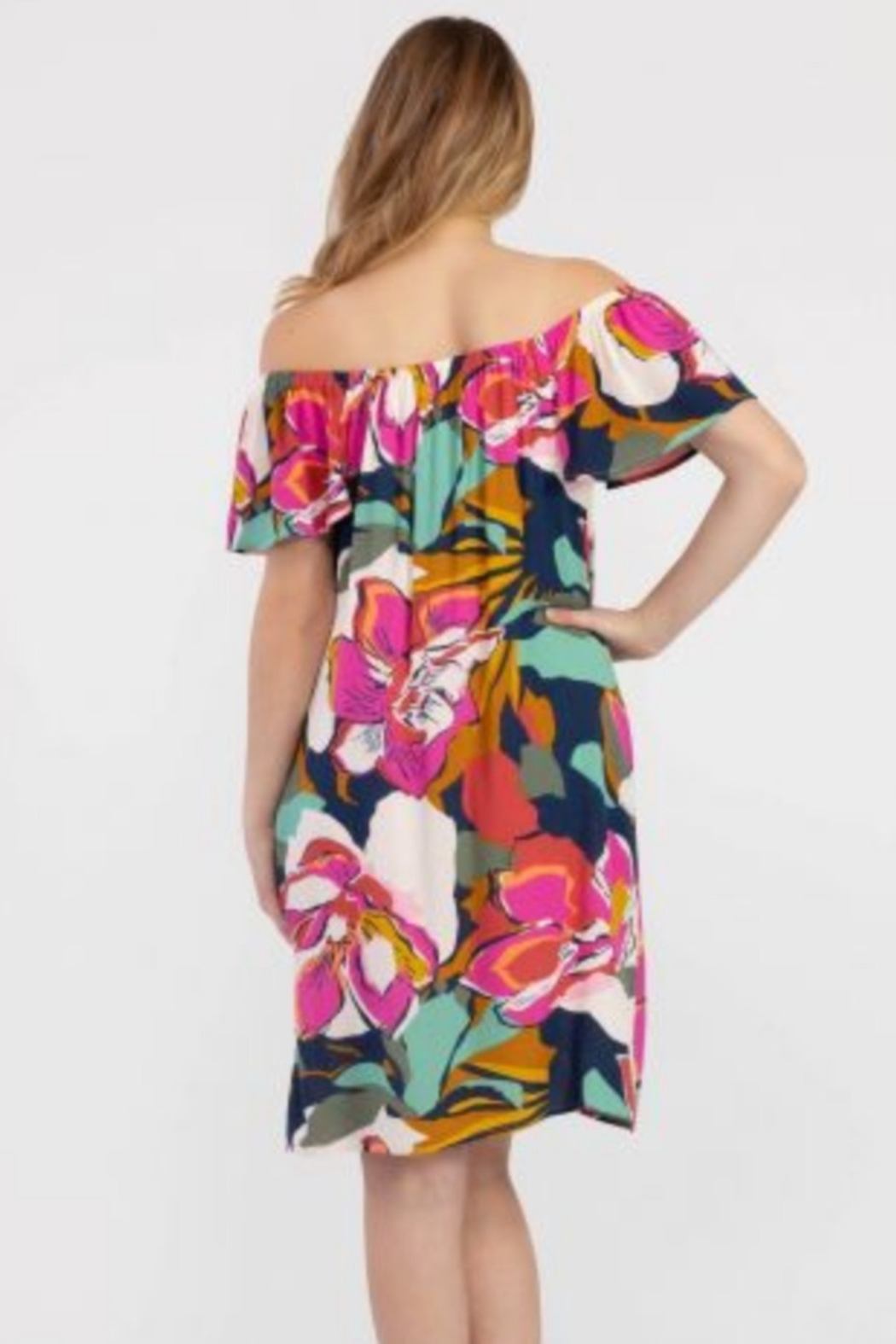 Tribal  On and Off the Shoulder Bold Floral Print Dress - Front Full Image