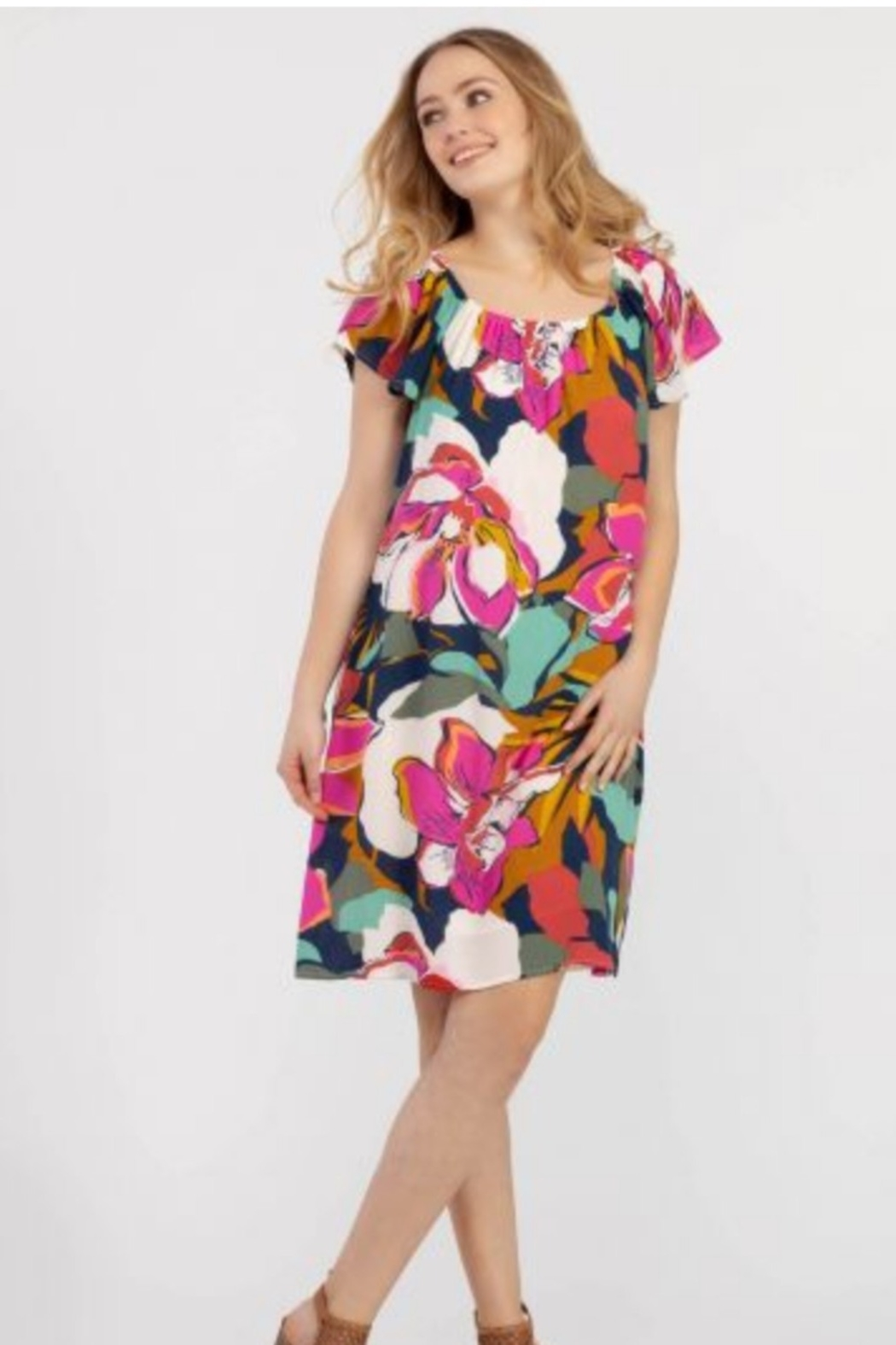Tribal  On and Off the Shoulder Bold Floral Print Dress - Main Image