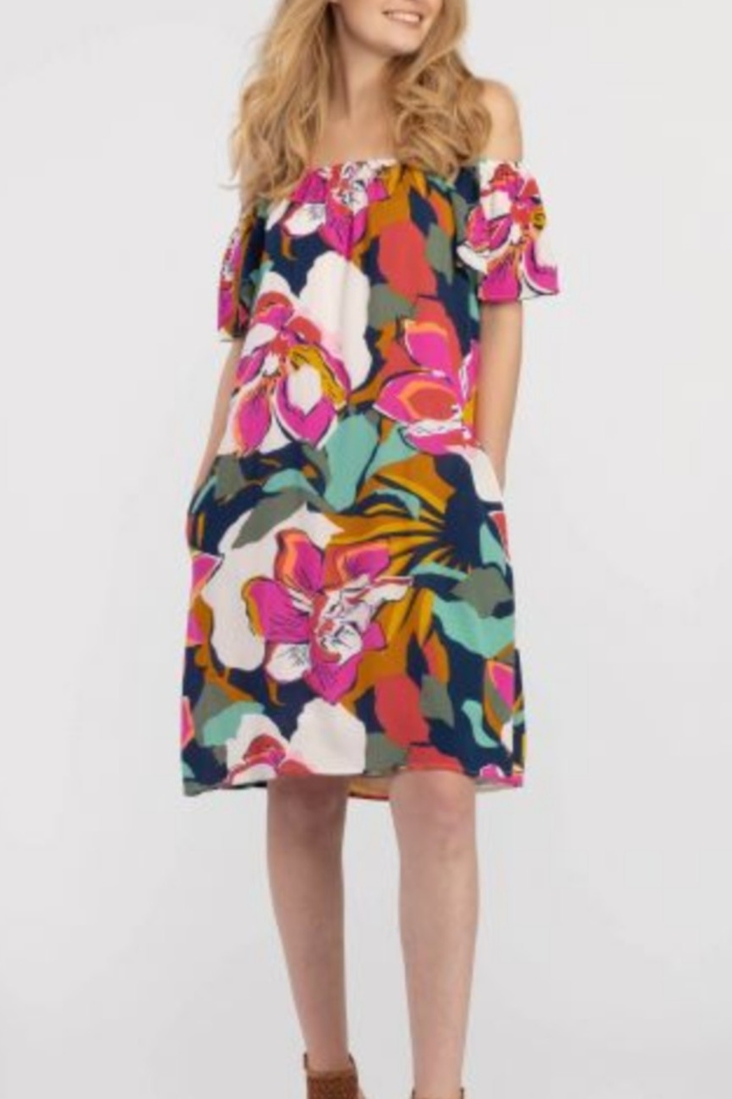 Tribal  On and Off the Shoulder Bold Floral Print Dress - Side Cropped Image