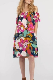 Tribal  On and Off the Shoulder Bold Floral Print Dress - Side cropped