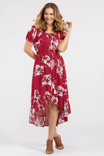 Tribal  On or Off the Shoulder Floral Dress from Kansas by Eccentricity - Salina — Shoptiques