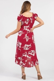 Tribal  On or Off the Shoulder Floral Dress - Front full body