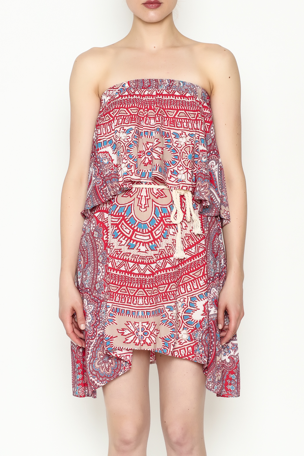 On The Road Strapless Print Dress - Front Full Image