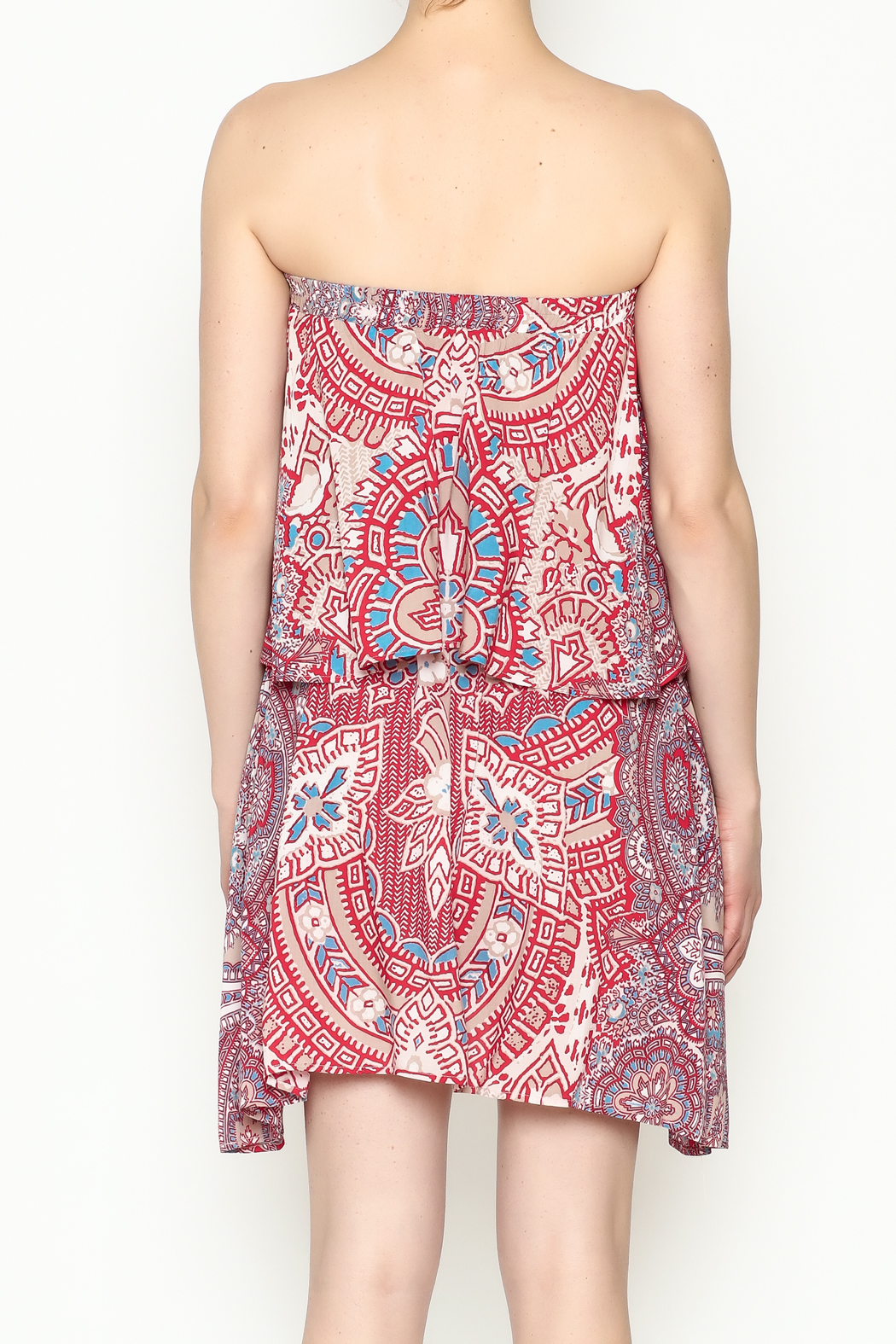 On The Road Strapless Print Dress - Back Cropped Image