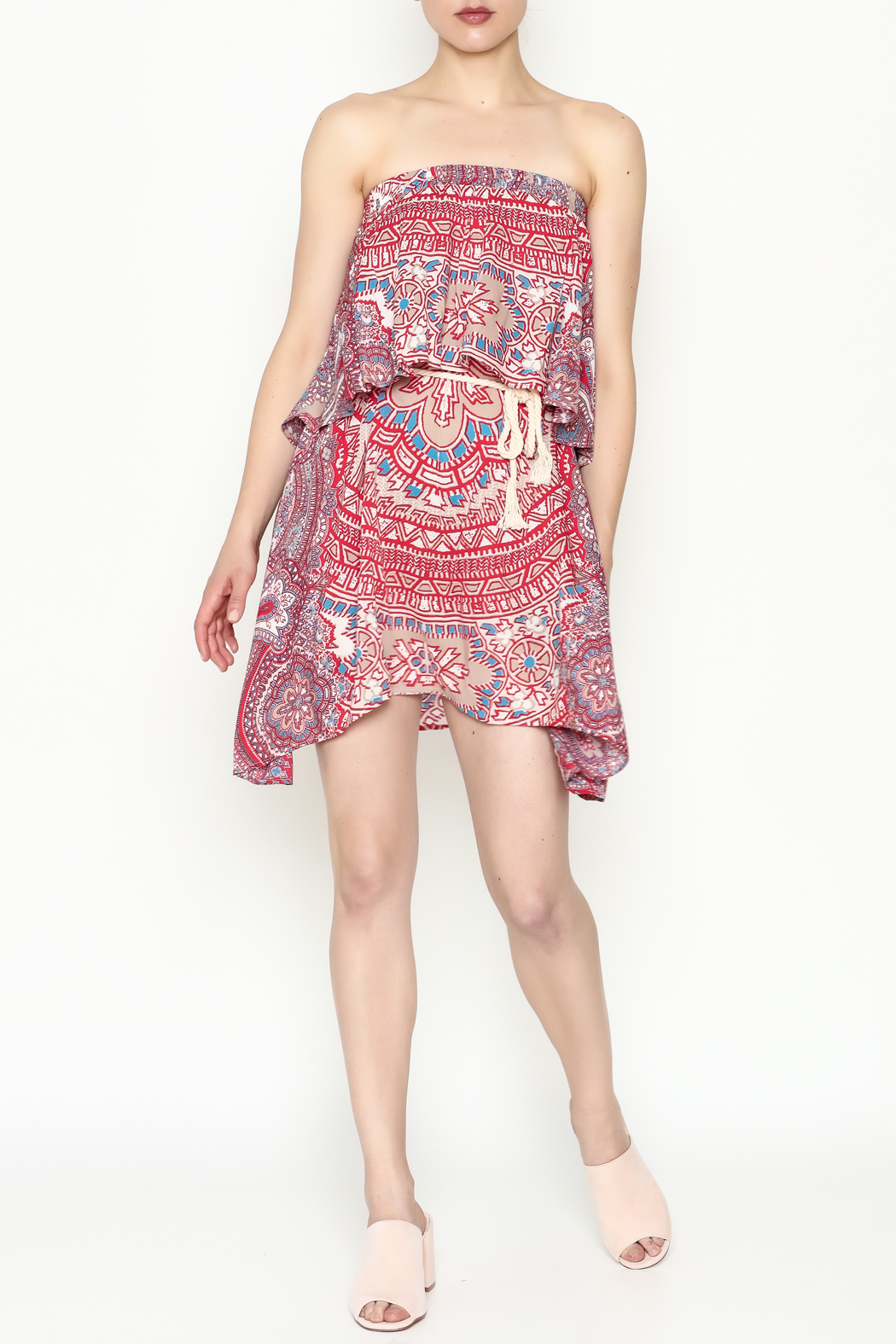 On The Road Strapless Print Dress - Side Cropped Image