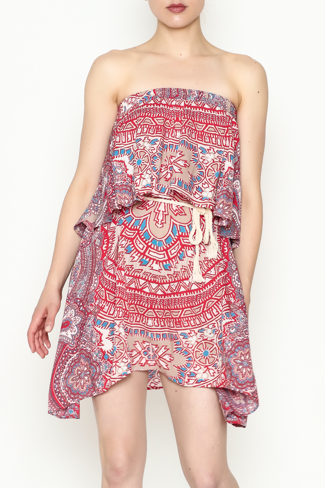 On The Road Strapless Print Dress - Main Image