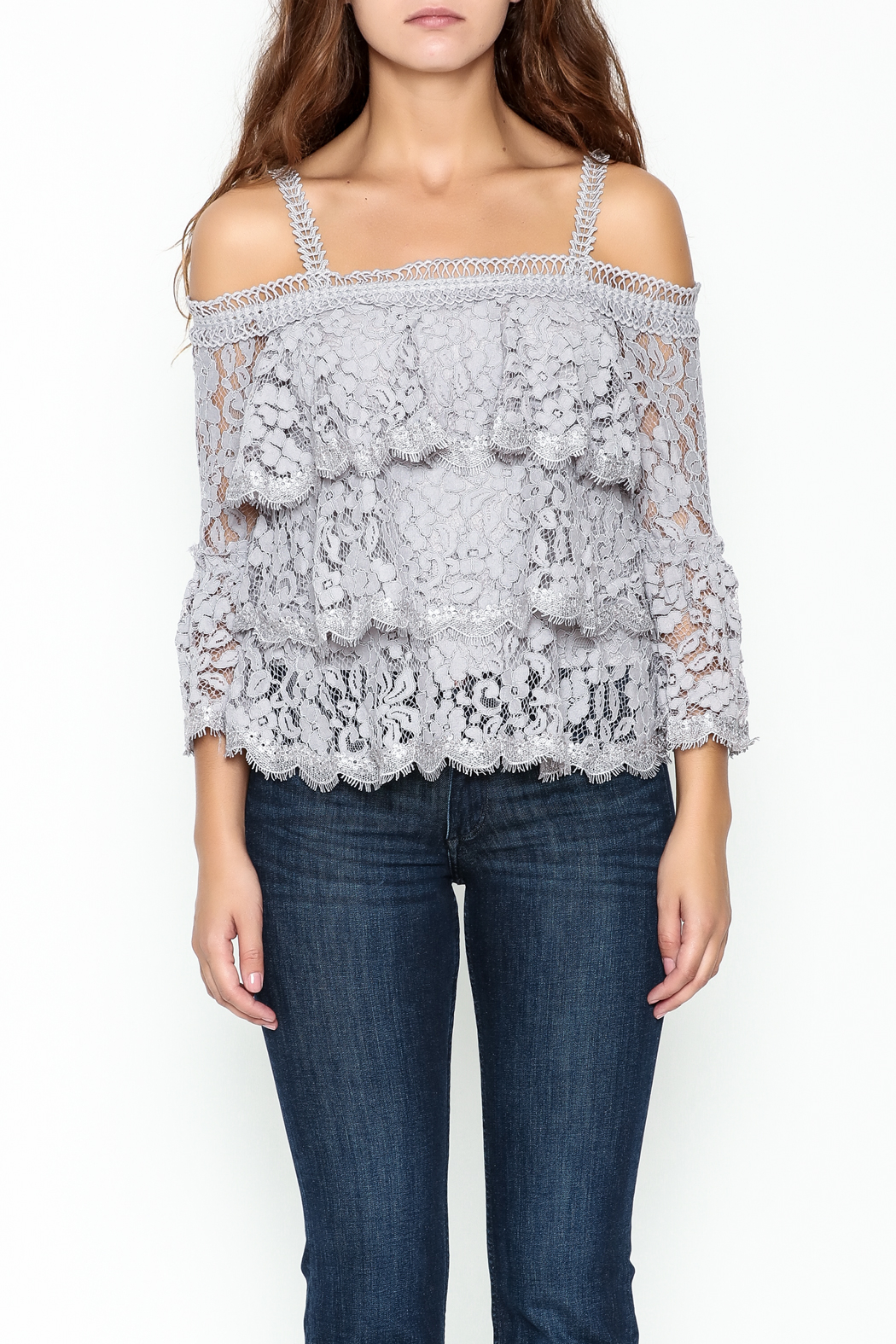 On Twelfth Lace Off the Shoulder Top - Front Full Image