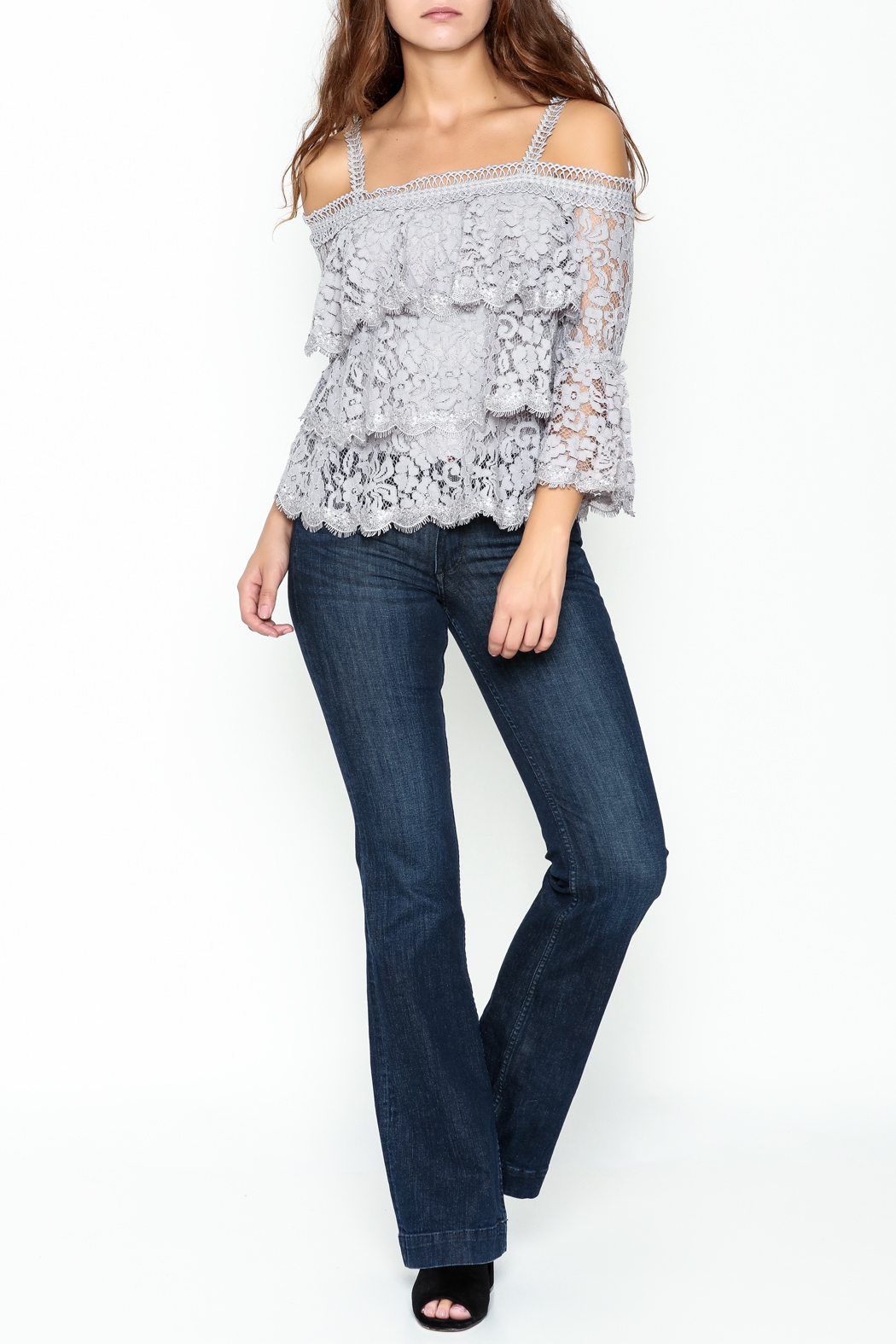 On Twelfth Lace Off the Shoulder Top - Side Cropped Image
