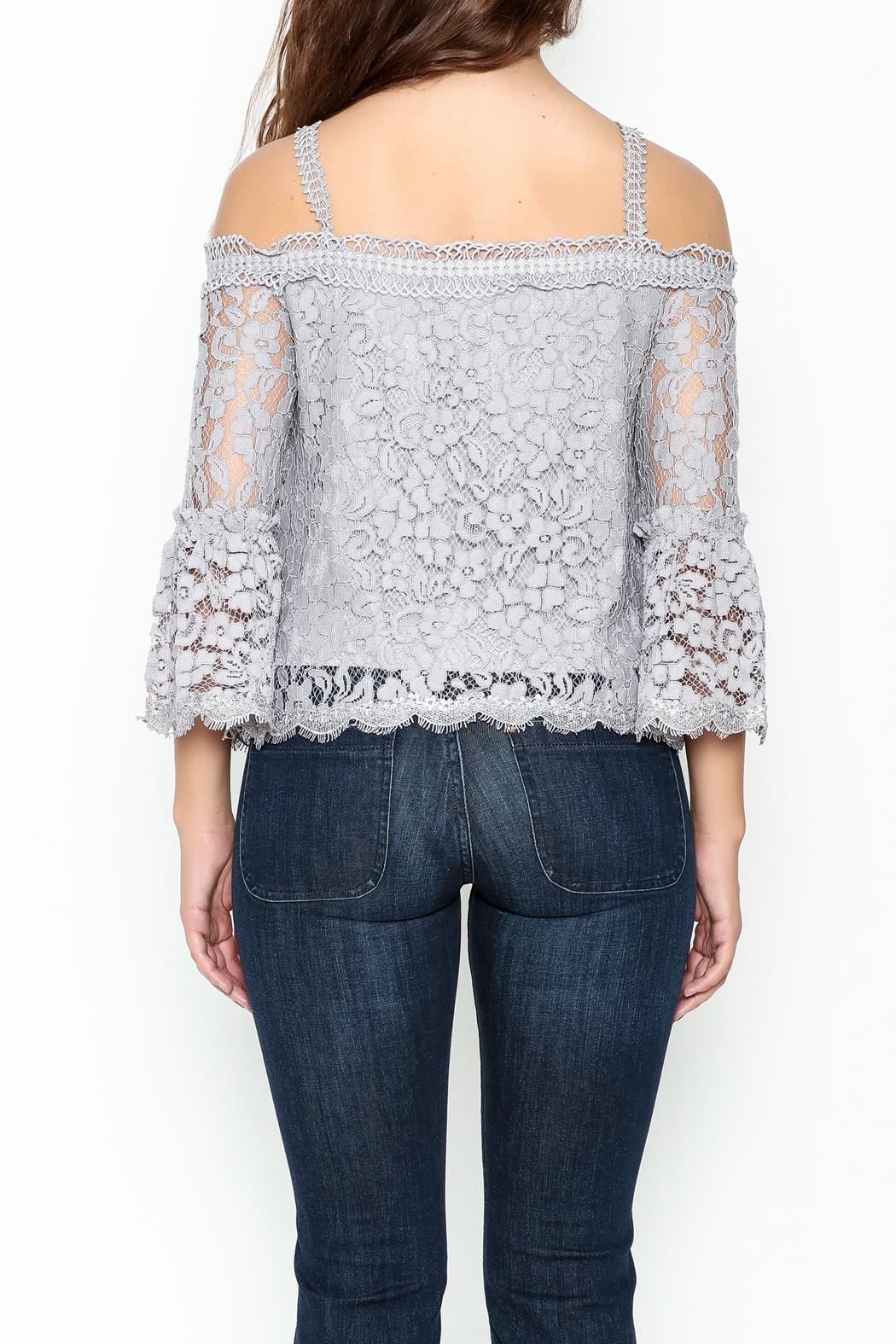 On Twelfth Lace Off the Shoulder Top - Back Cropped Image