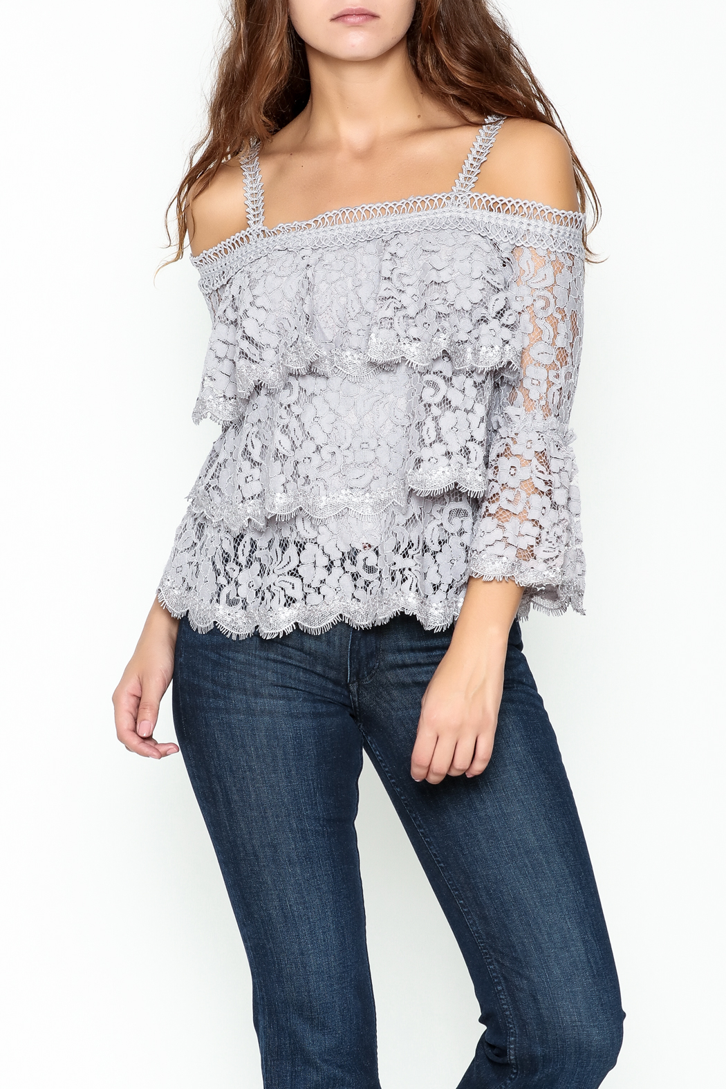 On Twelfth Lace Off the Shoulder Top - Main Image