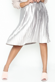 On Twelfth Pleated Metallic Midi Skirt - Front cropped