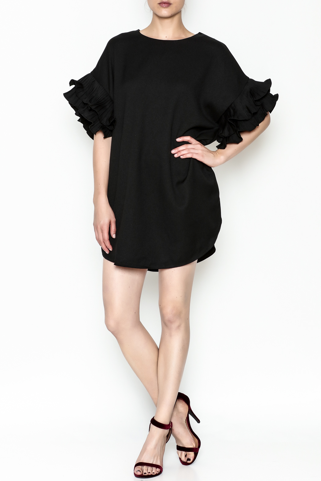 On Twelfth Ruffle Sleeve Dress - Front Full Image