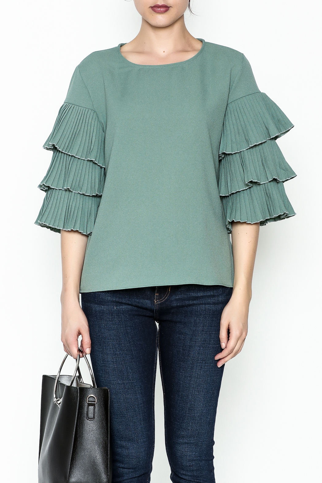 on12th Ruffle Sleeve Blouse - Front Full Image