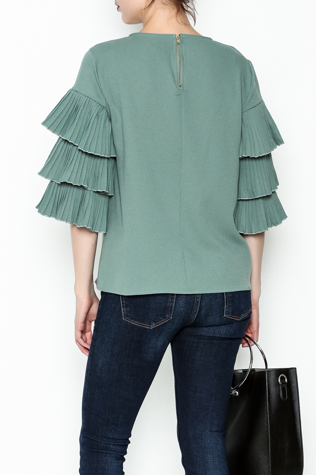 on12th Ruffle Sleeve Blouse - Back Cropped Image
