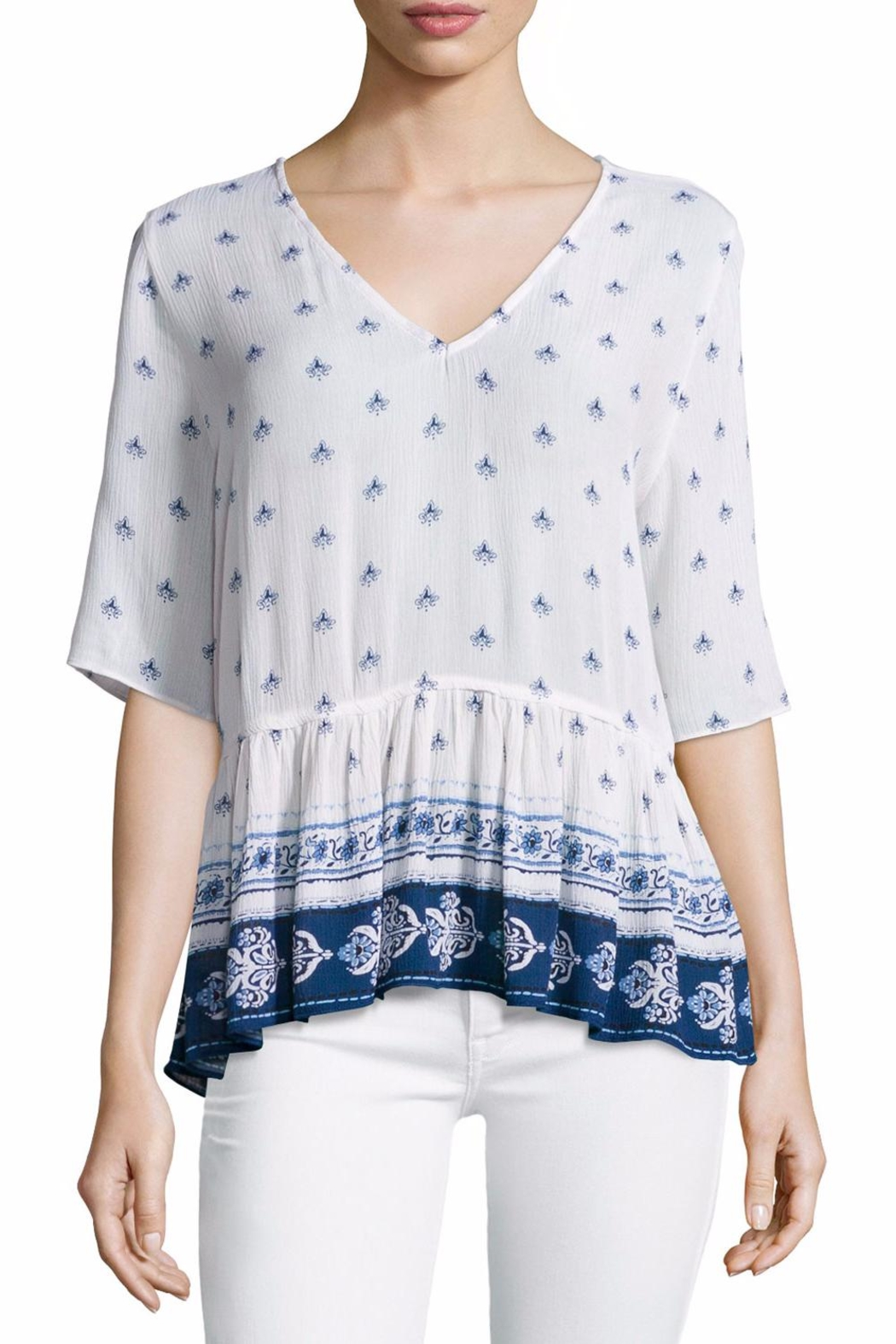 On The Road Printed Peplum Top - Main Image