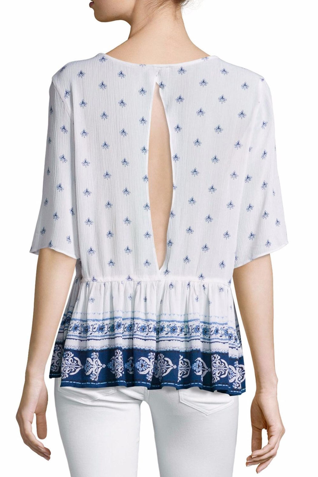 On The Road Printed Peplum Top - Front Full Image