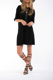 On The Road Black Lace Up Dress - Product Mini Image