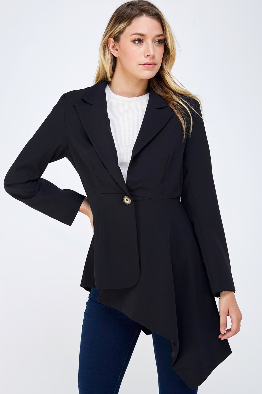 On Twelfth Fitted Asymmetrical Blazer - Main Image