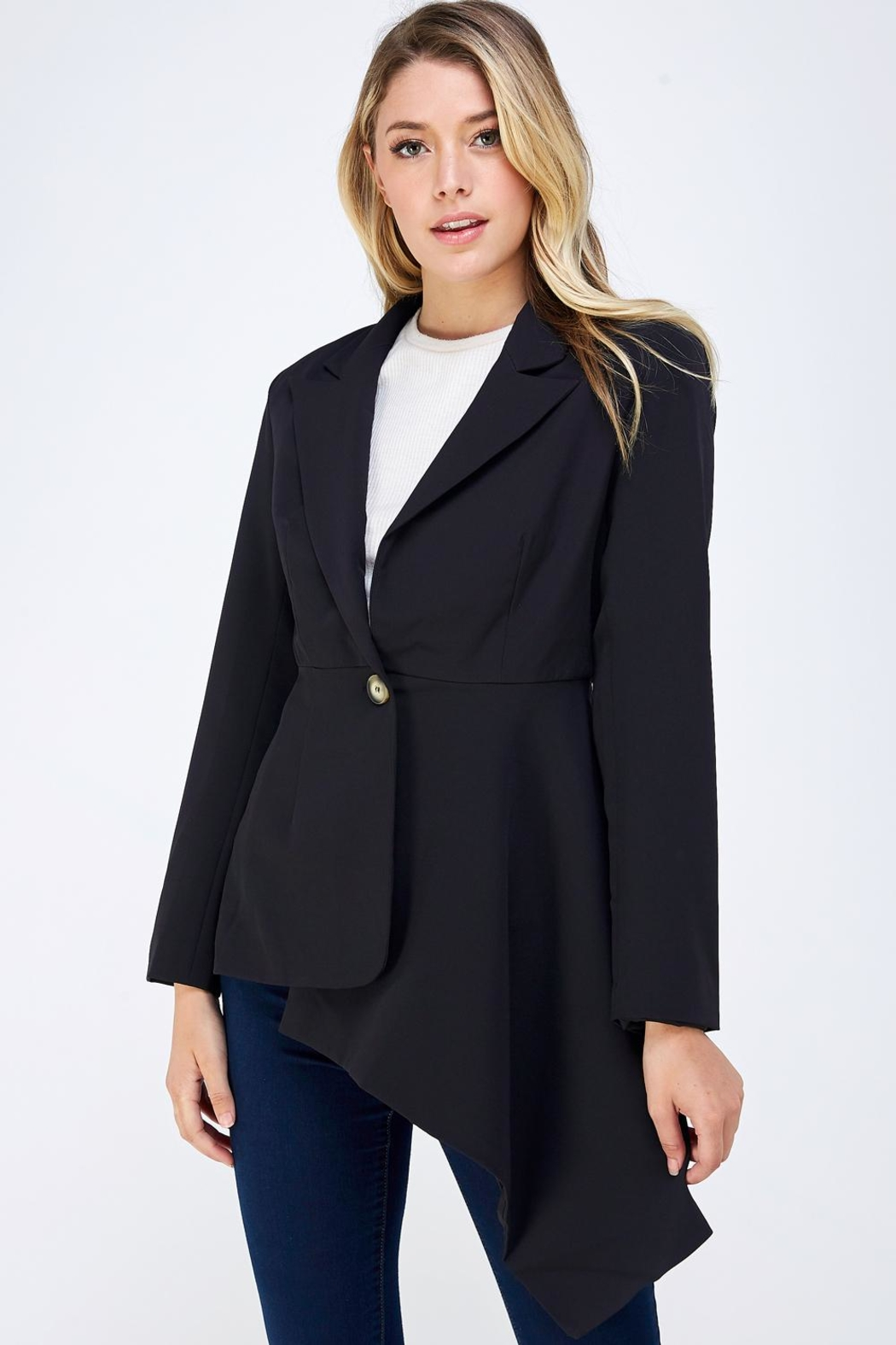On Twelfth Fitted Asymmetrical Blazer - Front Full Image