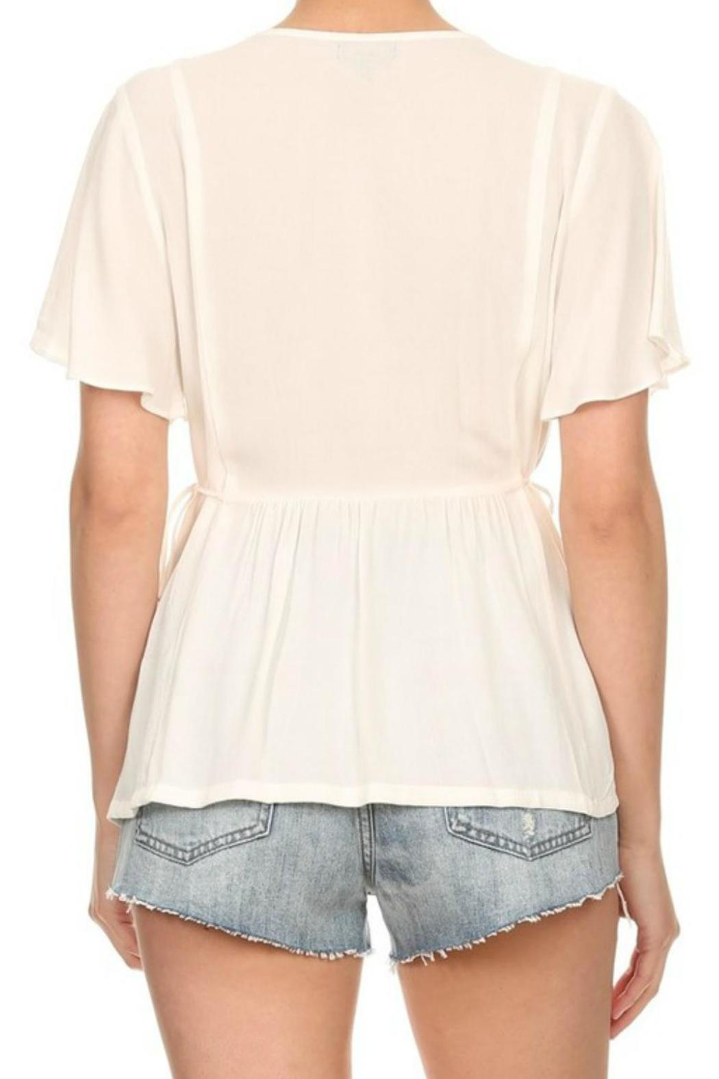 On Twelfth Flutter Sleeve Top - Back Cropped Image