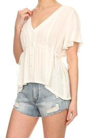 On Twelfth Flutter Sleeve Top - Front full body