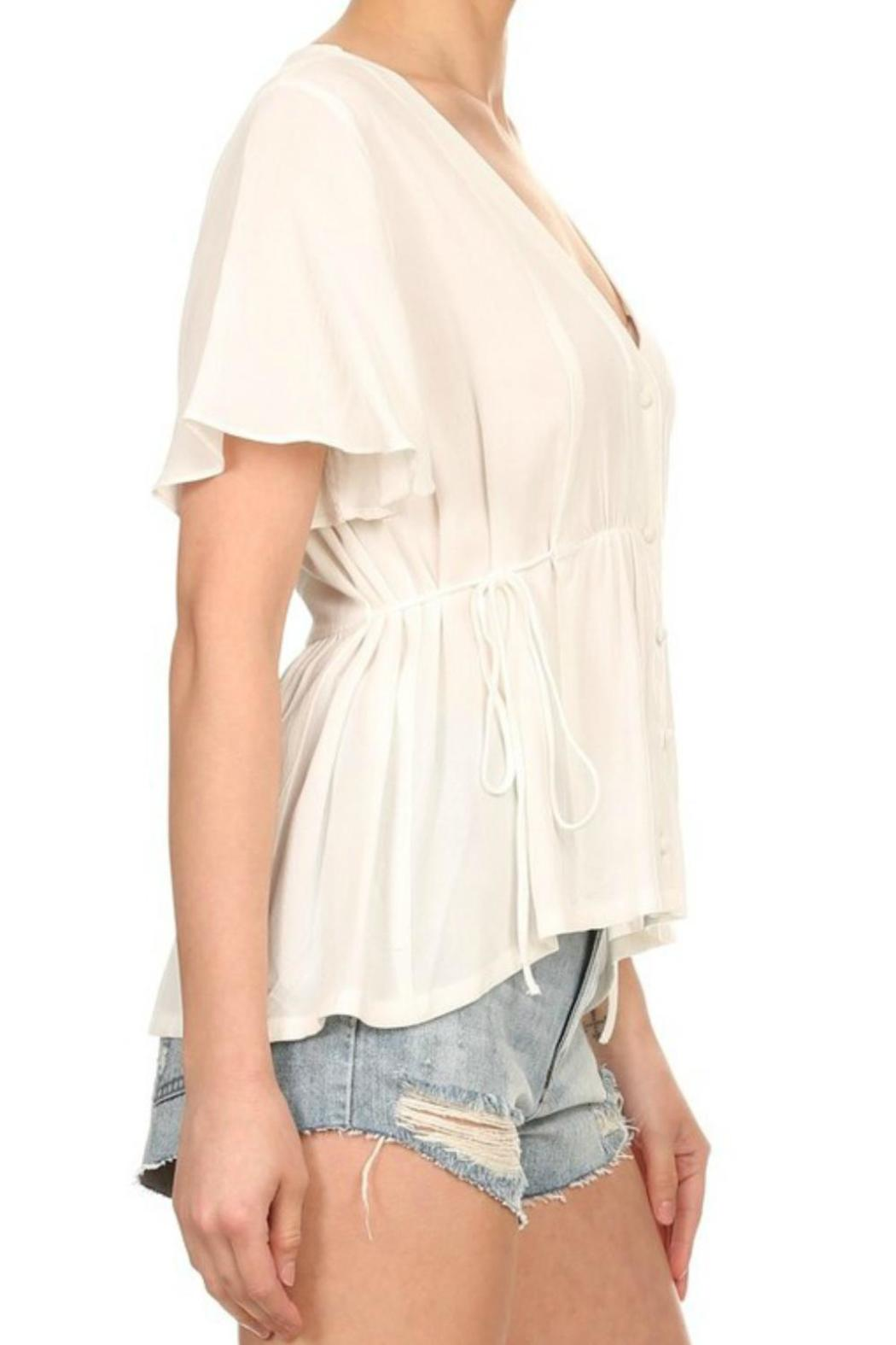 On Twelfth Flutter Sleeve Top - Side Cropped Image