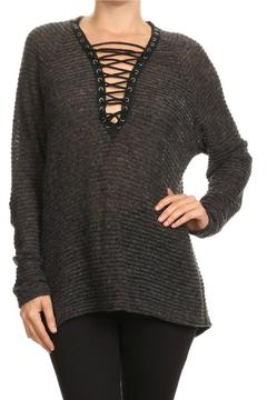 Shoptiques Product: Grey Lace-Up Sweater