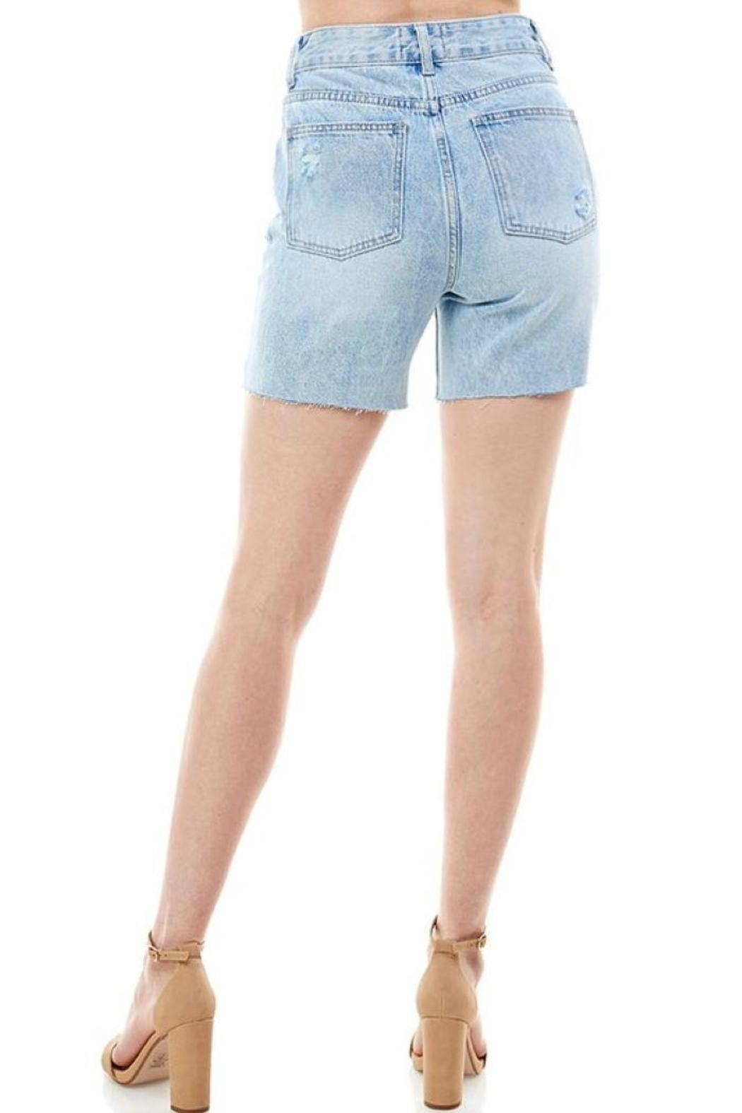 On Twelfth High Rise Rigid Distressed Shorts - Front Full Image