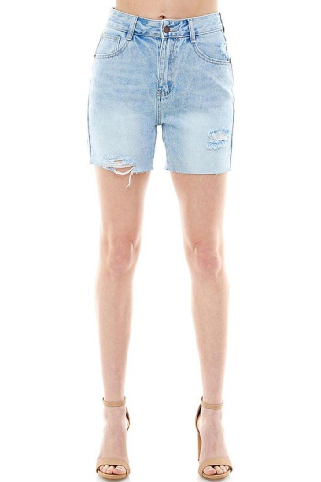 On Twelfth High Rise Rigid Distressed Shorts - Side Cropped Image